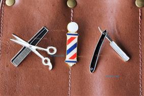 3 Broches Navalha Barber Pole Tesoura Barbearia Botton Pin