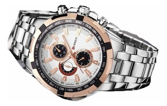 Relógio Original Masculino - Prata Mostrador Branco 30 Mt