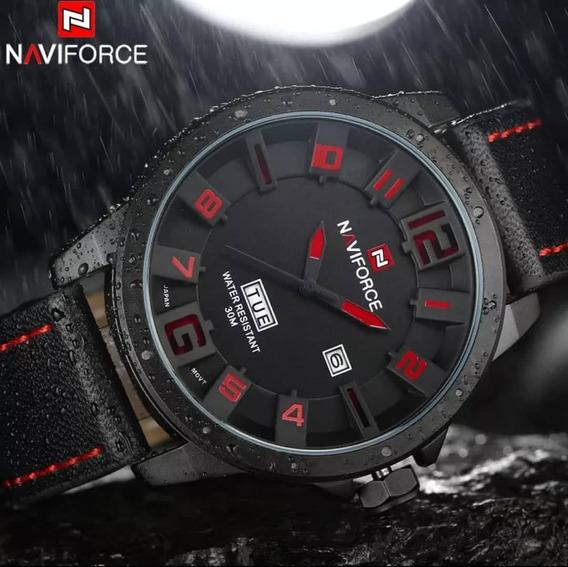 Relógio Masculino Naviforce Original Militar Pulseira Couro