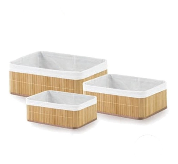 3 Cesto Organizador Bambu Multiuso Forrado Cozinha Lavanderi
