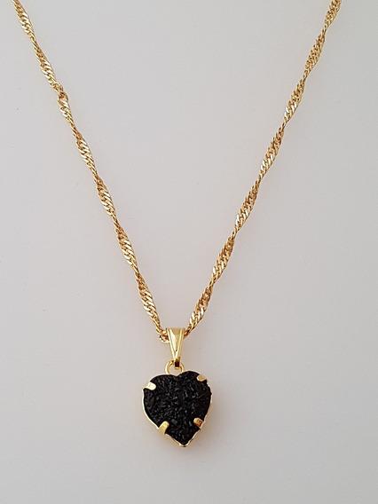 Pingente Coração Negro + Gargantilha Banhada Ouro. C1p177