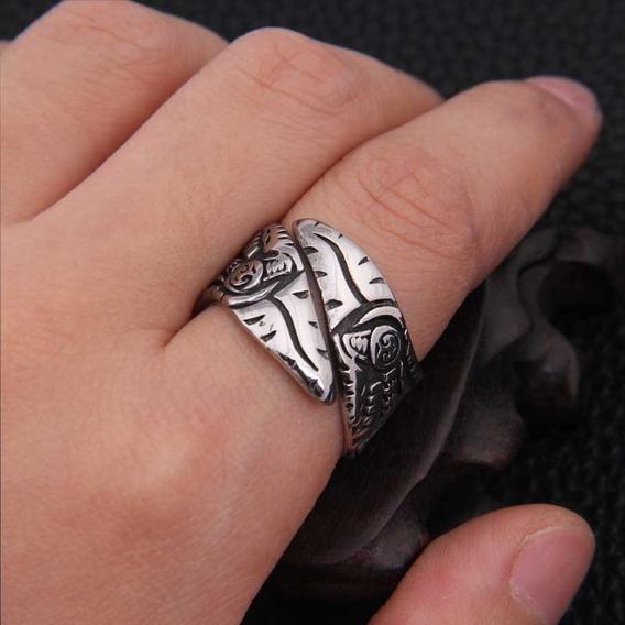Anel Viking Amuleto Corvo Ragnar Templário Seriado Ajustável