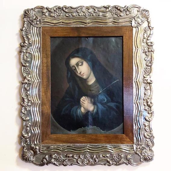 Pintura Antigua Virgen Dolorosa Oleo En Lámina D Cobre Xviii