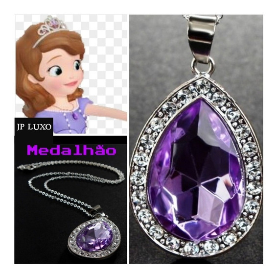 Colar Medalhão Amuleto Princesa Sofia Fantasia Diamante Roxo