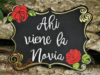 Pizarrón-letrero Para Boda Ahi Viene La Novia