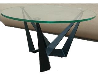 Mesa De Centro Cristal Y Placa Acero Pintura Electrosrtatica