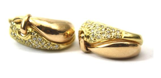 Brinco Com Diamantes Em Ouro Amarelo 18k 750 D739