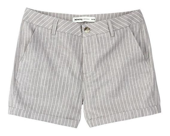 Shorts Feminino Listrado Em Linho Hering K44m