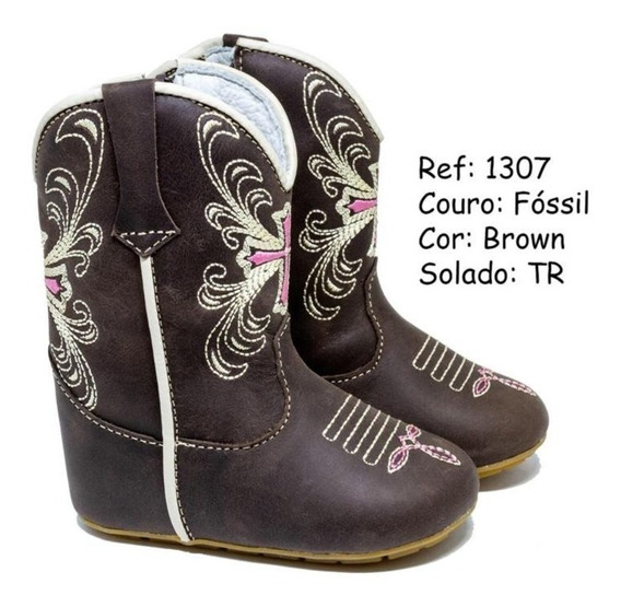 Bota Country Texana Infantil Marrom Rosa