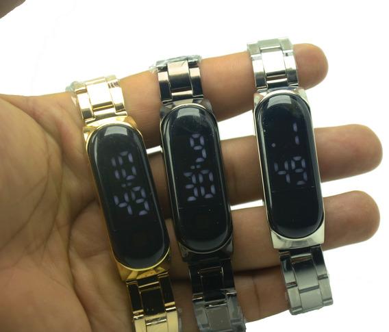 Relógio Unissex De Pulso De Aço Inox Digital Led Touch Screen.
