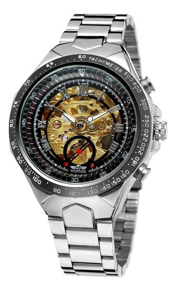Relógio Automático Masculino De Luxo Prateado Winner