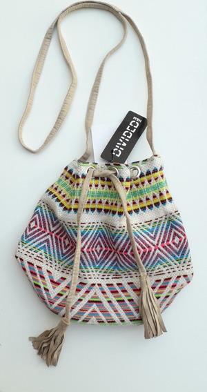 Bolso H&m Textil Con Pasador Con Flecos