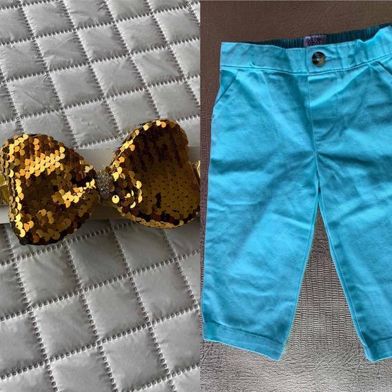 Pantalón Niña Talla 9 Meses Y Moño Dorado