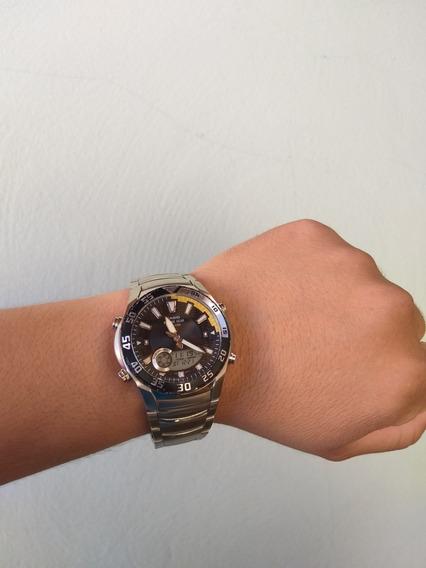 Relógio Casio Amw 710 D-1 Aço Lua Maré Pesca Crono Alarm Luz