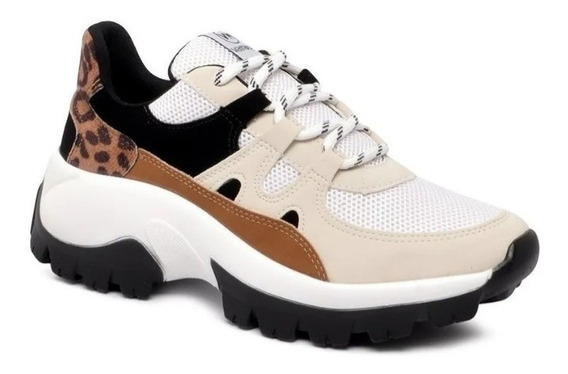 Tênis Sneaker Via Marte Branco Animal Print 20-7604