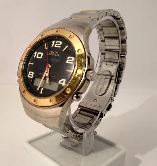 Relógio Cosmos Os11740 Prata Com Fundo Preto