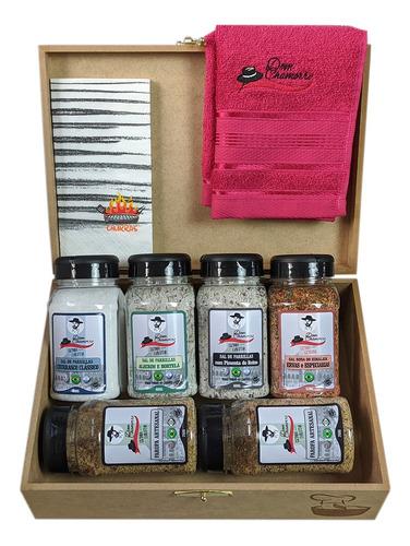 Imagem 1 de 5 de Kit Caixa De Madeira + 4 Parrillas + 2 Farofas-dom Chamorro