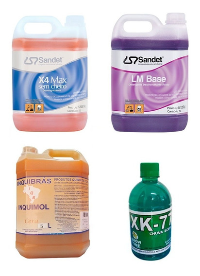 X4 Max Solupan Lm Base Ativado Shampoo Cera Chuva Acida Kit