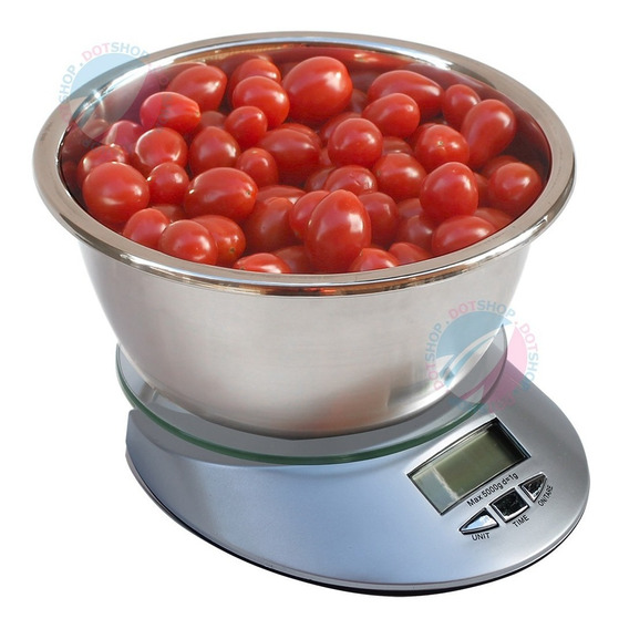 Balança Digital Cozinha 5kg Tigela Bowl Aço Inox Tara Un 1g