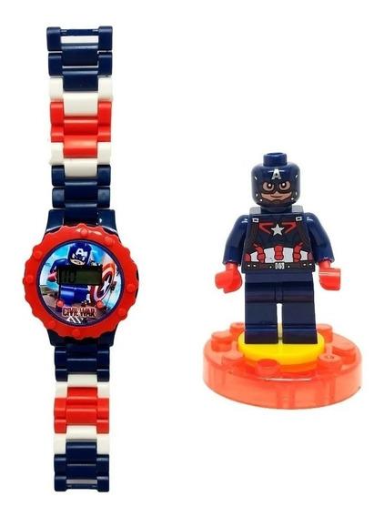 Relógio Lego Digital Infantil Capitão América + Boneco
