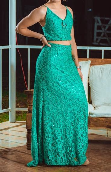 Vestido De Fiesta - Verde Esmeralda Con Lentejuelas
