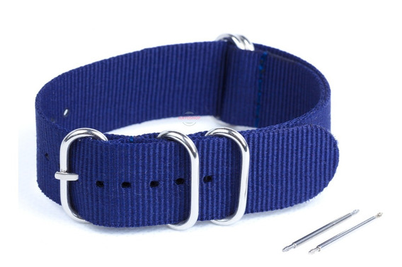 Pulseira Relógio Nato Zulu Nylon 24mm Azul Marinho 5 Anéis