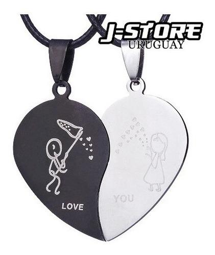 Collar Amor Pareja Doble Corazones San Valentin Corazon