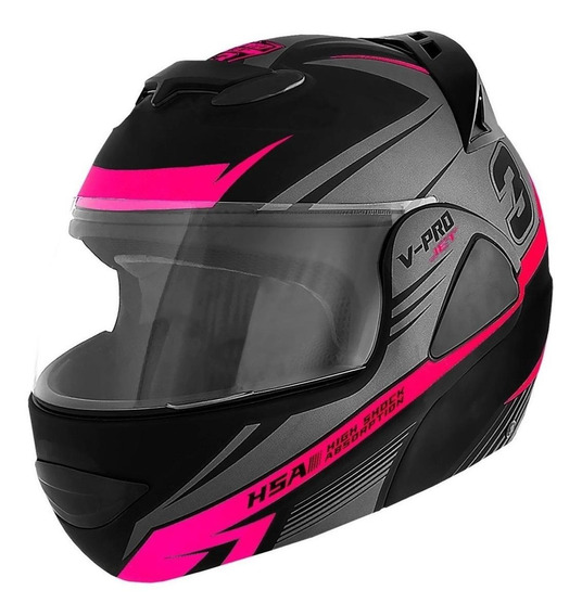 Capacete para moto escamoteável Pro Tork V-Pro Jet 3 cinza/rosa M
