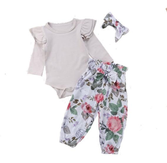 Conjunto Para Bebé Niña Pañalero Banda Y Pantalón Largo