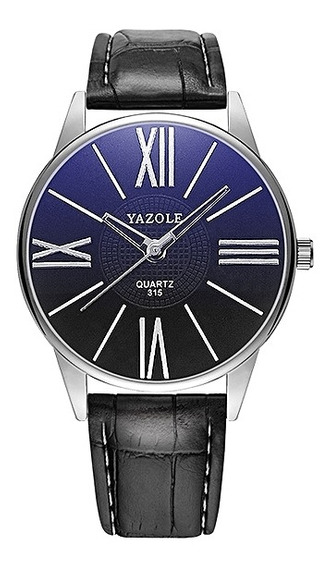 Relógio Masculino Yazole 315 Unique Preto Fundo Azulado