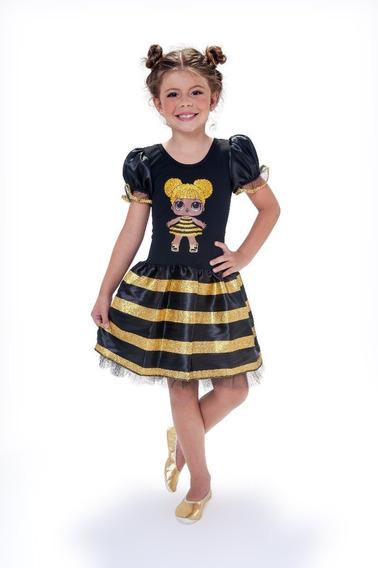 Vestido Infantil Tema Queen Bee Lol Surprise Oferta Dourado