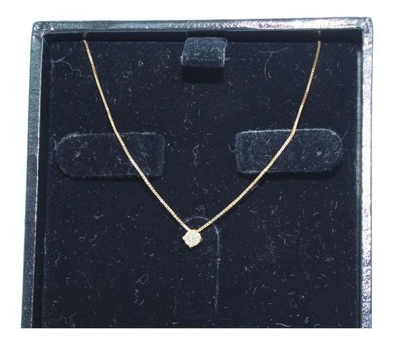 Pocao2005- Colar De Ouro 18k750 Diamante 12x S/j Ft/gt C374
