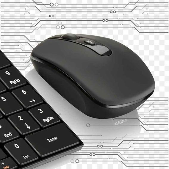Kit Multilaser Tc202 Teclado E Mouse S/ Fio 2.4 Ghz Preto.