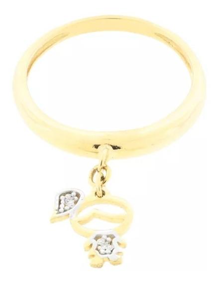 Aparador,anel Com Pingente Menina Ouro Amarelo 18 K