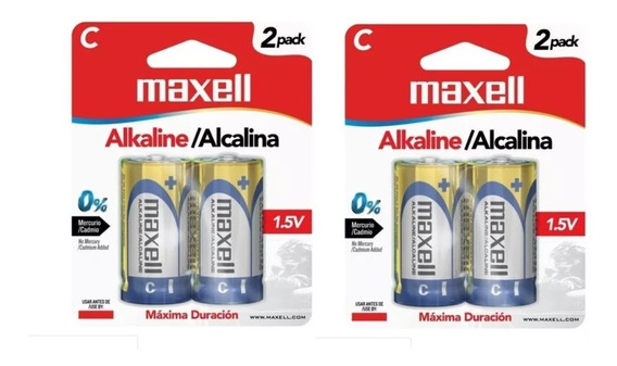 Pila Bateria Alcalina Tipo C Maxell Paquete De 4