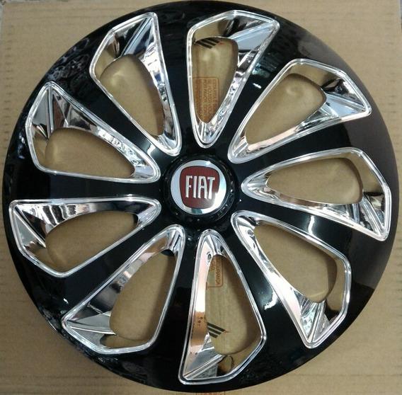 Calota Fiat Turbo I.e. Aro 14 Velox Preta E Cromada 4711