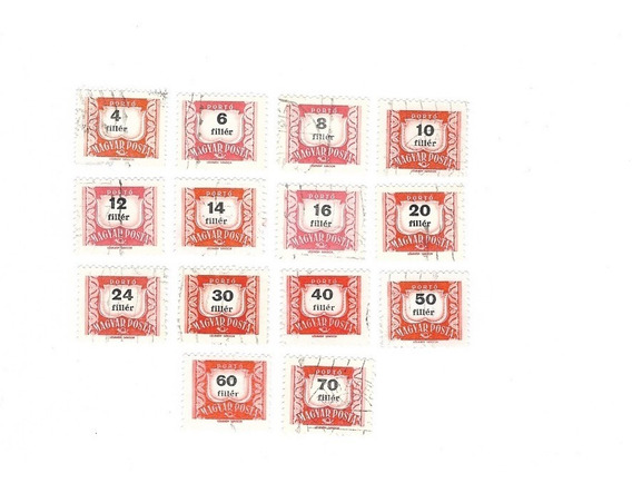 Lt693. Estampillas De Hungria. Cifras Sobre 14 Sellos.