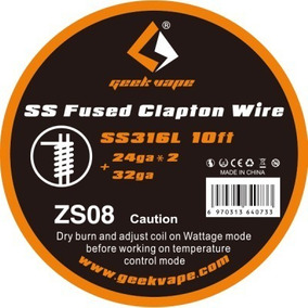 Fio Geekvape Ss Fused Clapton Wire Ss316l 10ft - 24ga*2 + 32