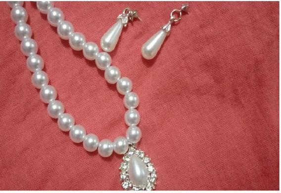 Joyería Set Collar Y Aretes Para Mujer- Perlas