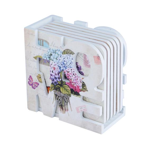 Porta Copos Set C/ 6pcs Suporte Home Mdf Hortenses Flowers