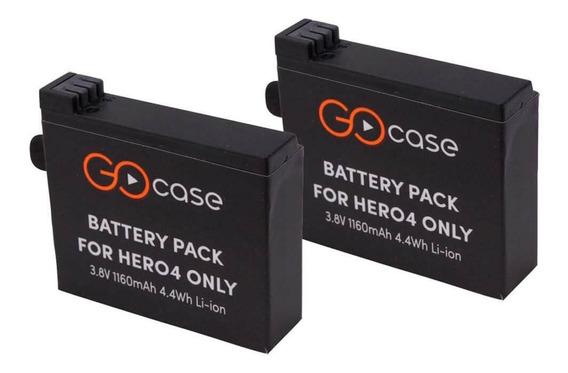 Kit Com 2 Baterias P/ Gopro Hero 4 Black / Silver - Gocase