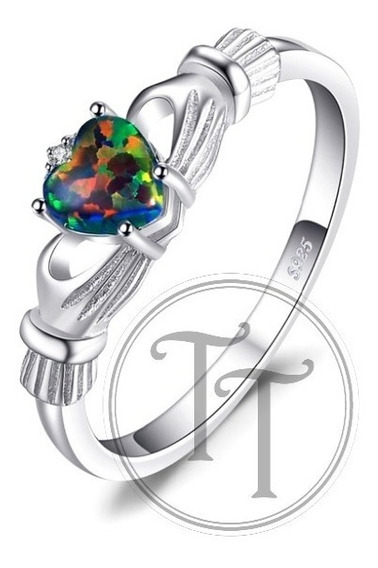 Anillo Claddagh Iris Ópalo 0.40 Ct Plata Esterlina 925