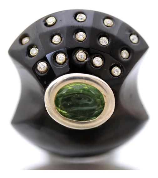 Maxi Anel Mitologico Onix Cristal Verde Em Prata 925 J10920