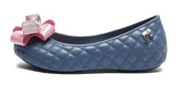 Sapatilha Menina Azul Laço Rosa Grendene Barbie 21575