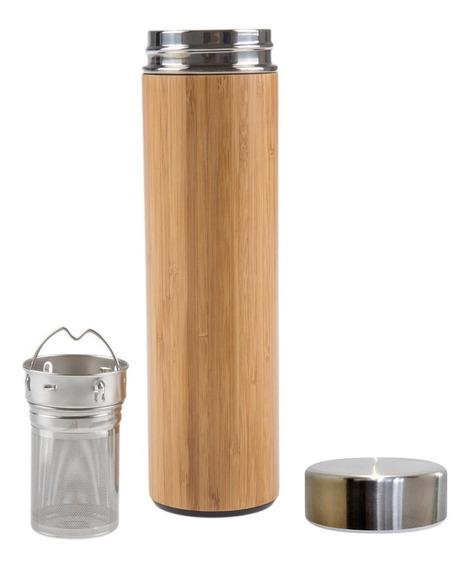 Termos De Bambu 550ml Con Infusor Para Té Y Café