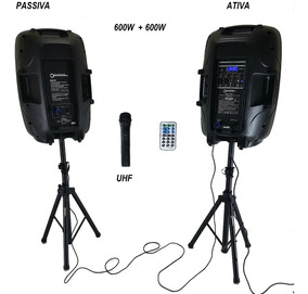Kit Caixa De Som Ativa E Passiva 2 Trip Bluetooth Lançamento