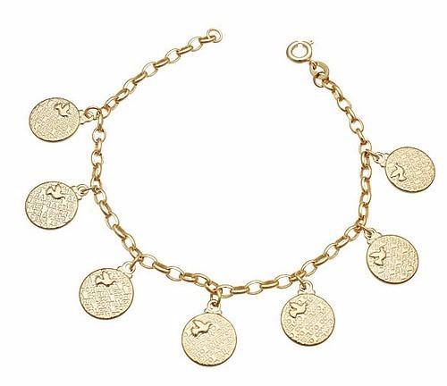 Pulseira Bracelete 7 Dons Espirito Santo Banhado A Ouro 18k