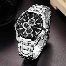 Relógio Curren De Luxo Prata/preto A Prova D