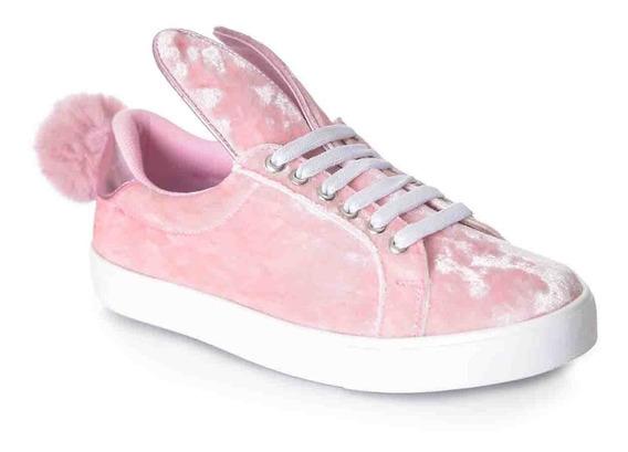 Tenis Conejito Con Pompón Y Agujetas Color Rosa Tropicana