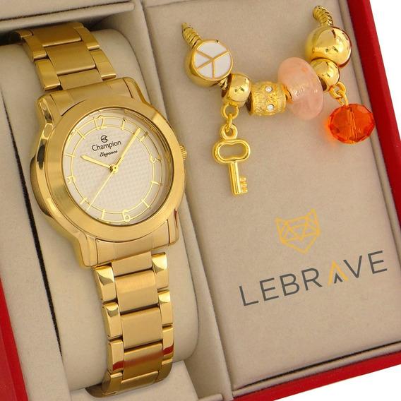 Relógio Feminino Champion Dourado Ouro Com Pulseira Berloque